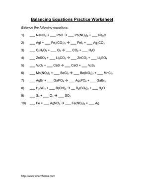 Balancing Chemical Equations Practice Worksheet With Answers ...