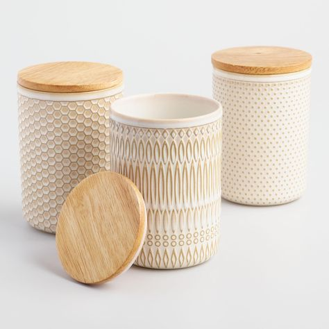 Textured Ceramic Storage Canisters with Wood Lids Set of 3 - World Market GraceEBea Home Organization ( Storage Canisters, Kitchen Canisters, Kitchenware, Tableware, Kitchen Organization, Kitchen Storage, Spice Storage, Spice Racks, Lp Storage