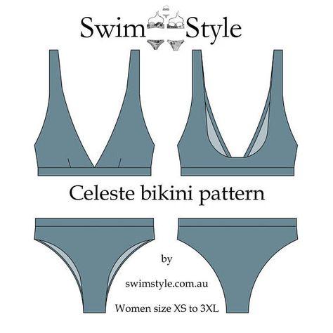 swim suit pattern Celeste High cut bikini sewing p - swimsuit