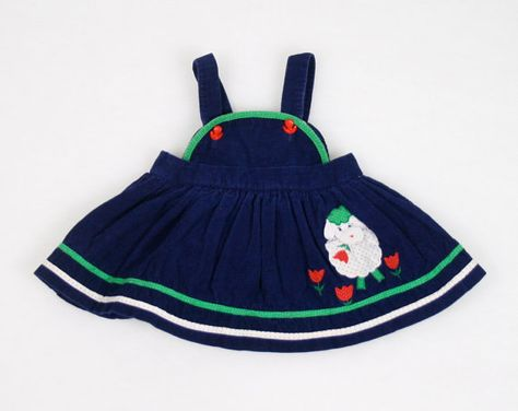 8847c0833aef7 Vintage Baby Girl Dress Navy Blue Dress Green White Red Sheep Lamb Print  Embroidered Tulip Sundress Jumper Pinafore Corduroy 18m 18 Months