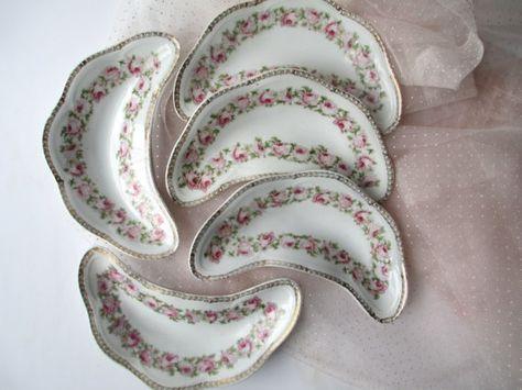 Antique Scherzer Mignon Bavarian Pink Green Rose by jenscloset