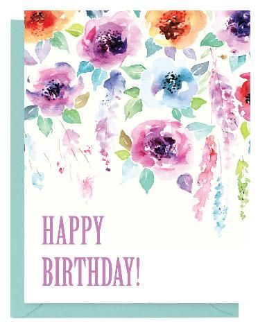 Purple Floral Watercolor Happy Birthday Card Paper On Pine
