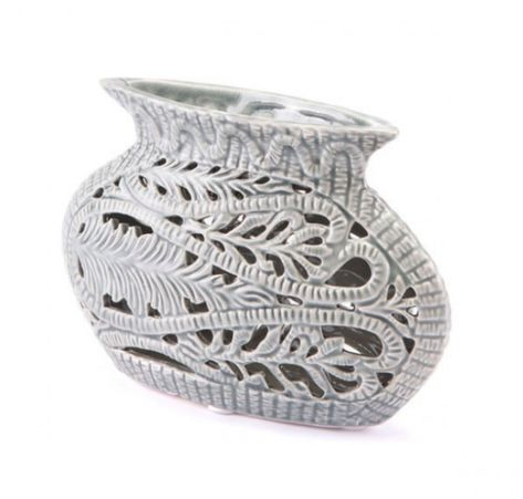 Fern Leaf Inlay Gray Ceramic Vases Online Furniture Store Products