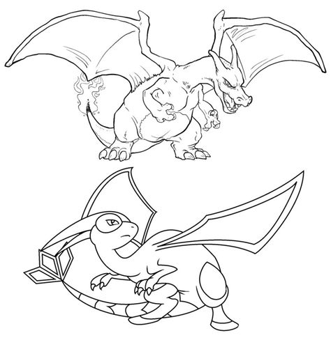 Pokemon Charizard Coloring Pages  LineArt Pokemon Detailed