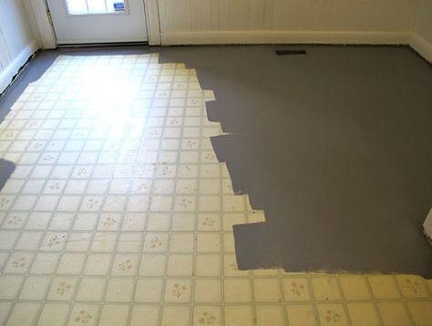 Painting Linoleum Floor With Grey Painting Linoleum Floors Linoleum Flooring Paint Linoleum