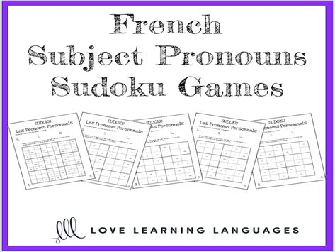 French Subject Pronouns Sudoku Games Les Pronoms Personnels Teaching Resources Sudoku Learn Spanish Free Learning Spanish Spanish subject pronouns worksheets