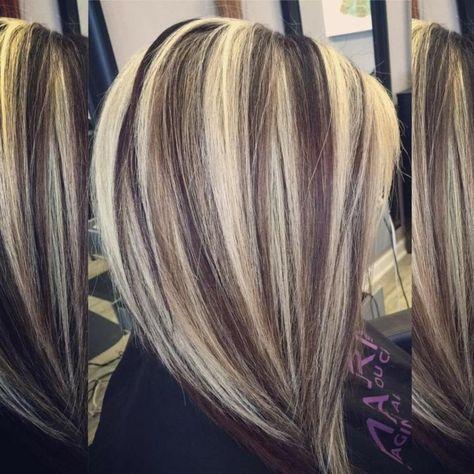 Blonde Strähnchen Kombiniert Mit Schwarzer Haarfarbe
