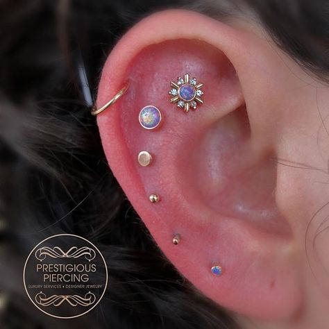 Sometimes, you just go all out and get your ear dripping in gold for your bday ✨ thank you to my sweet client Geraldi for having me do this piercing project for her birthday. Whole ear is 14k rose gold by Leroi ✨It warms my heart when I get to be apart of a sentimental mark on my clients lives and bodies 💖 .⠀.⠀.⠀#prestigious #prestigiouspiercing #sammimarchesepiercings #notjustapiercing #phattats #toothgems #smallbusiness #gold #notjustapiercing #phattatstattoo #corpuschristi #professionalw