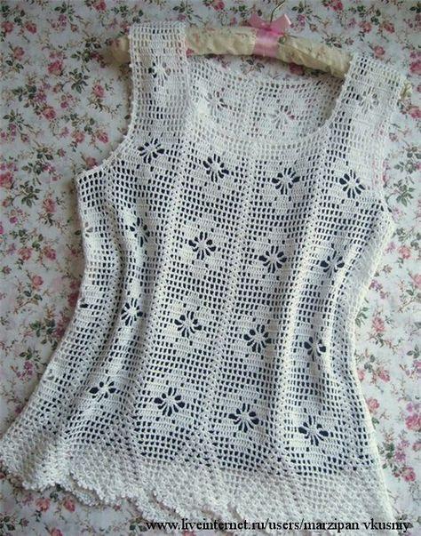 White top fileechka  In Russian/graphs shown  ♪ ♪ ... #inspiration_crochet #diy GB