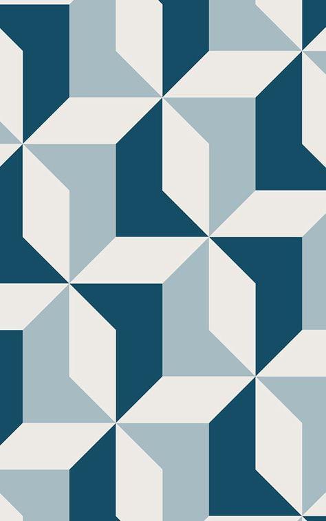 Papier Peint Géométrique Bleu Abstrait | Murals Wallpaper