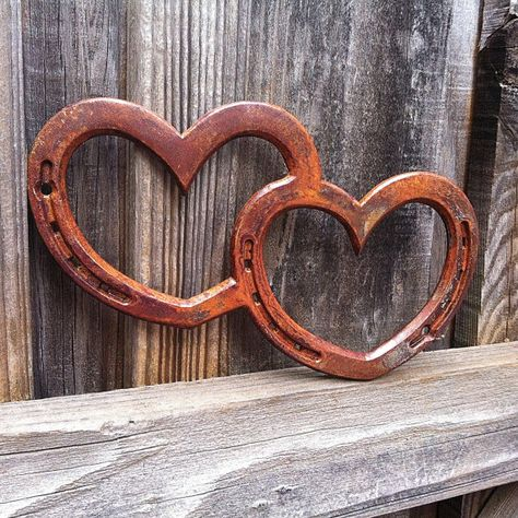 Double HORSESHOE heart, wall art sign, western bridal wedding, anniversary, or birthday gift, any color,  MADE to ORDER