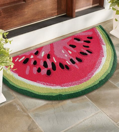 Our Watermelon Slice Hooked Door Mat is handcrafted from durable polypropylene, so it's perfect outdoors or inside, it's easy to clean, and ideal for lots of busy foot traffic.