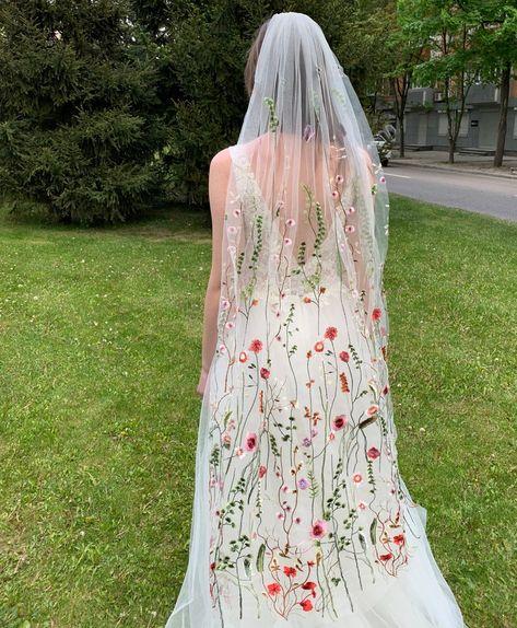 Wedding Veil, Lesbian Wedding, Boho Wedding, Ethereal Wedding, Colored Wedding Dresses, Dream Wedding Dresses, Nontraditional Wedding Dresses, Mexican Wedding Dresses, Flowery Wedding Dress