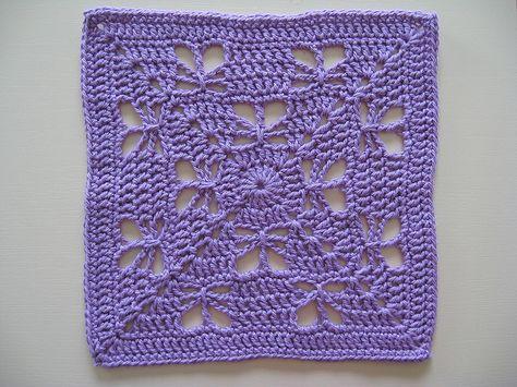 "Day 22: 12"" Block of the Day - Butterfly Garden by Chris Simon  Free Pattern: http://www.scribd.com/doc/136152442/Butterfly-Garden  #TheCrochetLounge #12inch #grannysquare Pick #crochet"