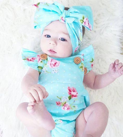 Newborn Toddler Baby Girls Cotton Jumpsuit Romper Bodysuit Outfits 0-24 months