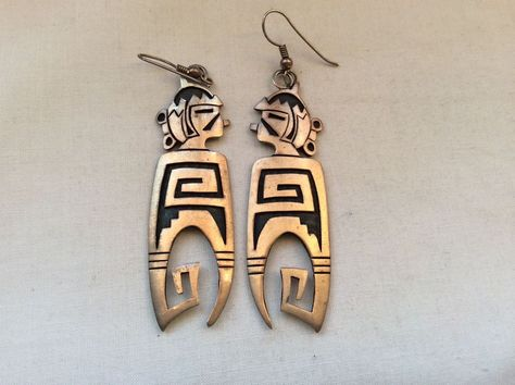 VINTAGE HOPI  STERLING SILVER OVERLAY  SIGNED WADSWORTH LONG MAIDENS  EARRINGS
