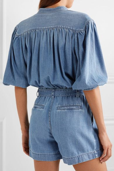 FRAME | Cali belted cotton-blend chambray playsuit | NET-A-PORTER.COM