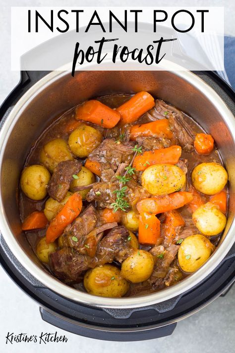 The best Instant Pot Pot Roast with potatoes, carrots and a flavorful gravy. The beef is melt in your mouth tender! This simple pot roast recipe is so easy to make in your pressure cooker! Cook from fresh or frozen. Beef Recipe Instant Pot, Instant Pot Pot Roast, Instant Recipes, Instant Pot Dinner Recipes, Recipes Dinner, Dinner Ideas, Easy Pot Roast, Pot Roast Gravy, Beef Pot Roast