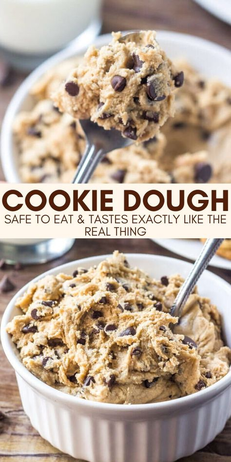 This delicious chocolate chip cookie dough is egg free and totally safe to eat. from Just So Tasty Homemade Cookie Dough, Cookie Dough Recipes, Fun Baking Recipes, Chocolate Chip Cookie Dough, Easy Cookie Recipes, Homemade Cookies, Easy Desserts, Sweet Recipes, Delicious Desserts