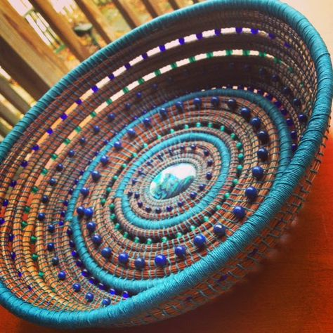 """""""Mystic Journey Pine Needle Basket"""" The Mystic Journey is the journey of the soul. As the Poet Wordsworth once wrote: Our birth is but a . Rope Basket, Basket Weaving, Pine Needle Crafts, Corporate Gift Baskets, Braided Rag Rugs, Sewing Baskets, Woven Baskets, Pine Needle Baskets, Basket Crafts"""