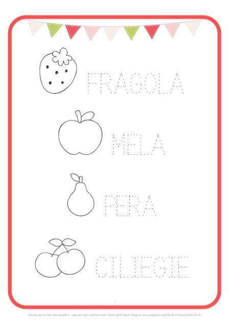 Scheda Pregrafismo Frutta Stampabili Prescolari Attivita Di Apprendimento In Eta Prescolastica Esercizio Per Bambini