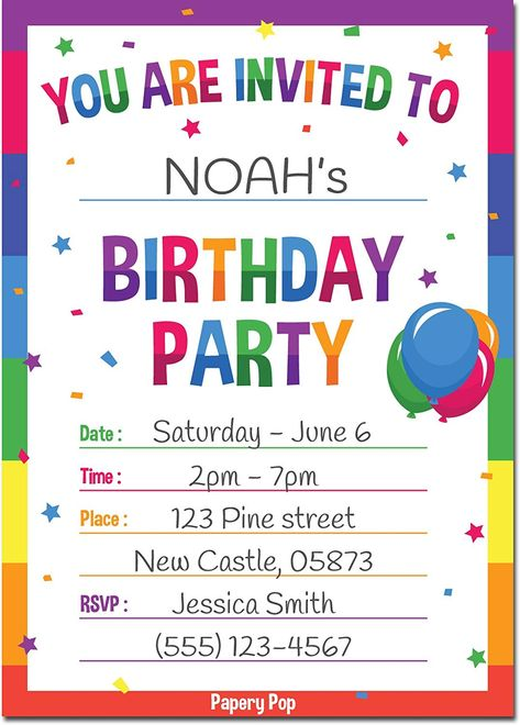 Birthday Invitations with Envelopes (15 Pack)