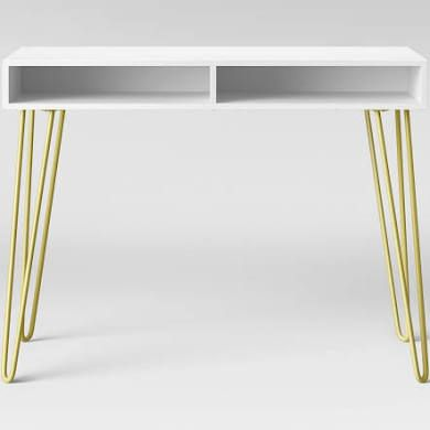 Small White Desk With Gold Legs