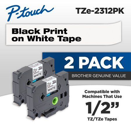 Brother Genuine P Touch Tze2312pk 1 2 0 47 Standard Laminated Tape Black On White 2 Pack Walmart Com In 2020 Printing Labels Tape Office And School Supplies