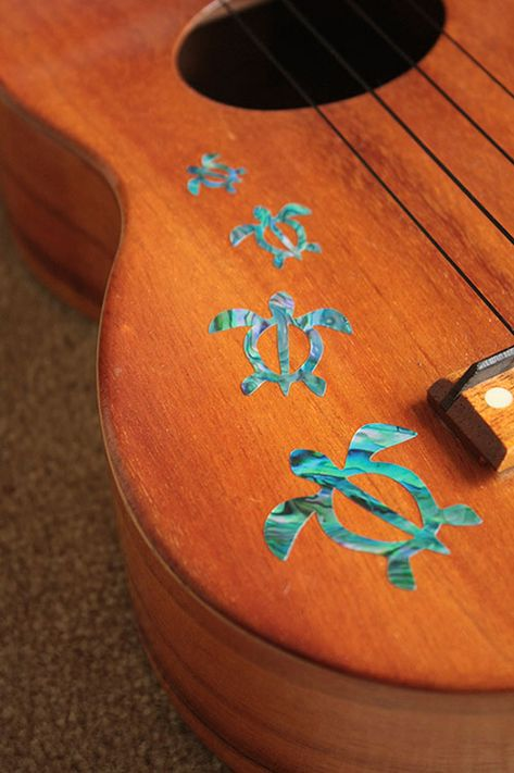 Made especially for Ukulele. Pretty Honu, they look like REAL inlay (Abalone & Mother Of Pearl)!