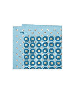 Blue Geometric Print Pocket Square Eton sT5bRKO
