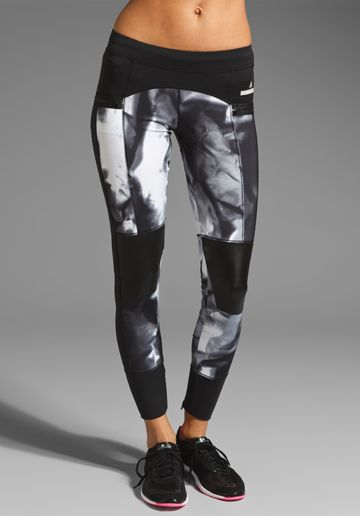 adidas by Stella McCartney 7 8 Running Legging in Black White