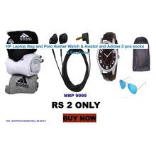 HP Laptop Bag and Polo Hunter Watch   Aviator and Adidas 3 pcs socks ... b9331919217f3