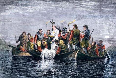 Secret burial of Hernando de Soto at night in the Mississippi River, 1542.
