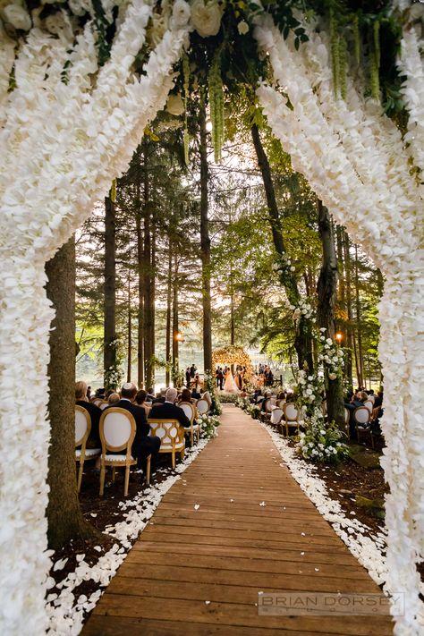 19 Romantic Wedding Ideas That'll Turn the Farm Into Your Fairytale - second wedding ideas Fantasy Wedding, Fall Wedding, Our Wedding, Woodsy Wedding, Lake Wedding Ideas, Forest Wedding Venue, Cabin Wedding, Cottage Wedding, Woods Wedding Ceremony