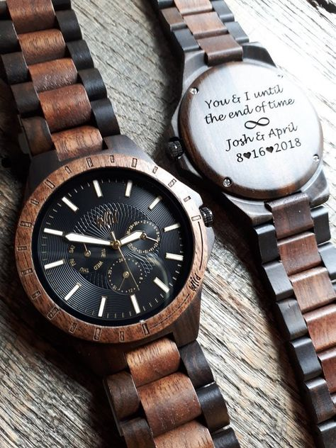 **** FREE ENGRAVING! **** ***We offer custom laser engraving on the back of our watches*** I have a Processing time for engravement of 1-2 business days. *****Free link removal tool included***** This WILD watch is precision crafted from sandalwood and features a wooden strap finely polished to