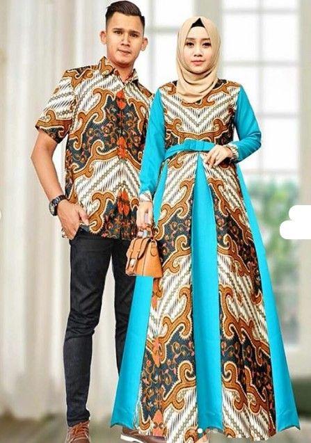 Baju Gamis Batik Kombinasi Satin Untuk Remaja Belah Tengah Soft Tosca Busana Batik Gaun Batik Model Pakaian
