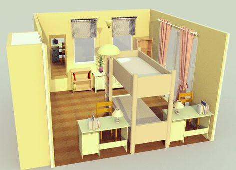 8畳の子供部屋 2段ベッド 横 シンメトリー 2段ベッド 子供部屋 部屋 レイアウト