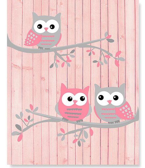 Owl Nursery Wall Decor For Baby Girl, Pink and Grey Owls