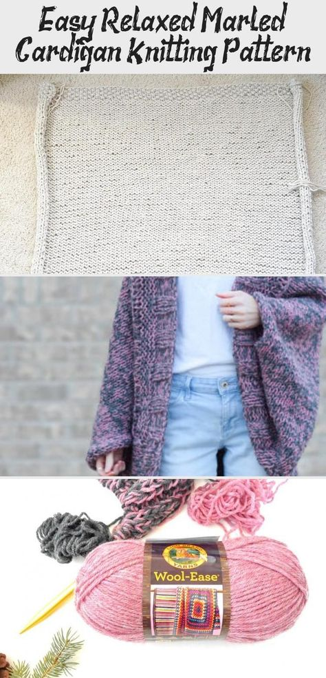 Easy Relaxed Marled Cardigan Knitting Pattern via @MamaInAStitch This is a simple pattern and there's pictures to show you how it's knit! Great for a beginner knitter too. | free knitting patterns for beginners simple lion brand | knitting patterns free scarf beginners lion brand #mamainastitch #beginnerknit #crafts #diy #freeknittingpattern #knittingLogo #knittingFabric #knittingGifts #knittingCardigan #knittingPatterns