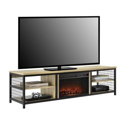75 Elias Tv Stand With Fireplace Oak Room Joy Fireplace Tv