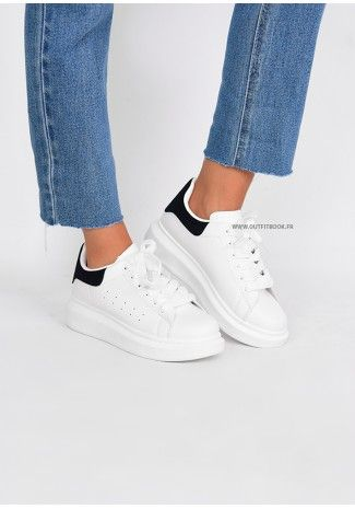 Platform sneakers in white and black   Baskets blanches, Chaussure ...