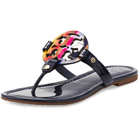 5428e4cfe44f Tory Burch Miller Rainbow Logo Sandal ( 205) ❤ liked on Polyvore featuring  shoes