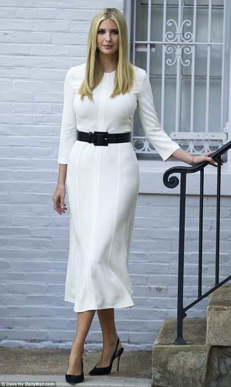 Morning commute: Ivanka, left the family's Washington, D. home about 15 minutes later in a glamorous, quarter-sleeved white midi dress