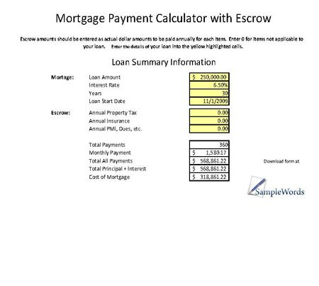 Mortgage Calculator With Escrow Excel Spreadsheet Mortgage