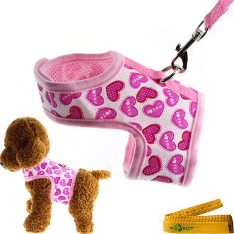 Bright Mesh Heart Printed Dog Cat Pet Vest Harness and Matching Leash Set in Pink for SMALL Dogs Cats ** Find out more about the great product at the image link. (This is an affiliate link and I receive a commission for the sales)