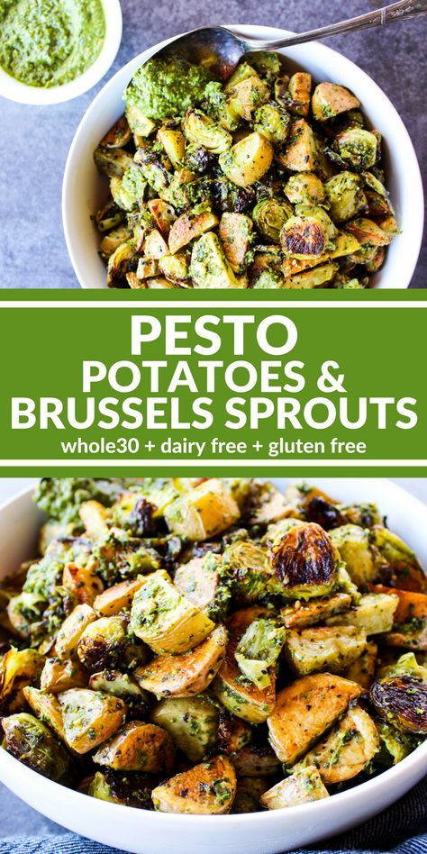 Pesto Potatoes & Brussels Sprouts are a hearty and rich side dish (or entree) that's really big on flavor. Use the homemade Pistachio Lemon Pesto to make it dairy free, gluten free, & compliant. Oh my goodness it is incredible! Potato Recipes, Paleo Recipes, Whole Food Recipes, Meatless Whole 30 Recipes, Whole 30 Vegetarian, Recipes With Pesto, Healthy Vegetarian Recipes, Vegetarian Pesto, Fish Recipes