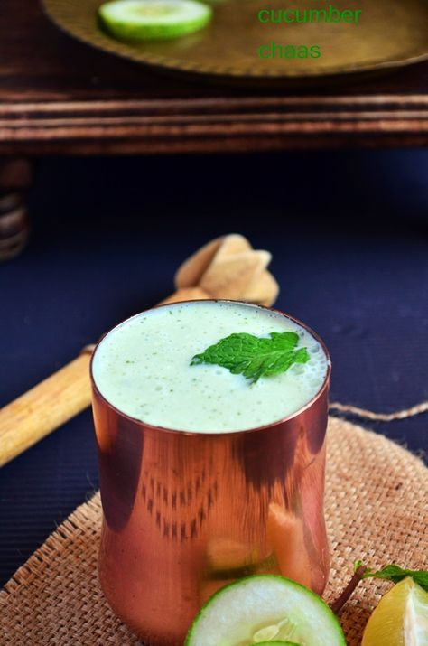 Cucumber Masala Chaas 2 Cups Thick Butter Milk 1 Medium Cucumber Teaspo Simple Summer Drink Recipes Indian Food Recipes Refreshing Summer Drink Recipes
