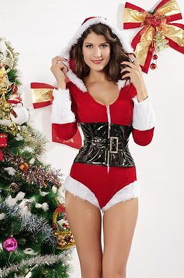 Womens Girls Santa Claus Mini Cape Hood Plush Furry Christmas Fancy Dress Carol