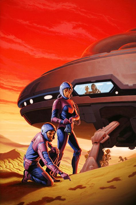 Space family on desert planet discovering they're not alone. Thought this was Jim Burns, but turns out it's by Romas Kukalis.