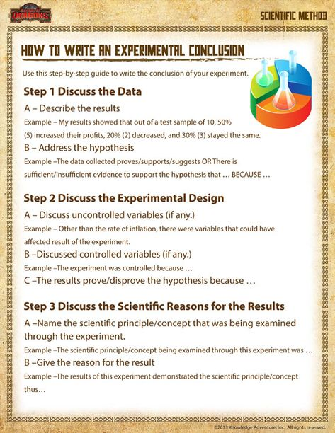 How to Write an Experimental Conclusion - Free Scientific Method - scientific method worksheet